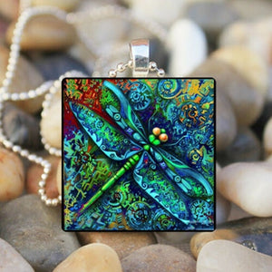 Women Blue Dragonfly Punk Necklace Vintage Statement Painted Owl Pendant Square Necklace Insect Animal Personalized Jewelry