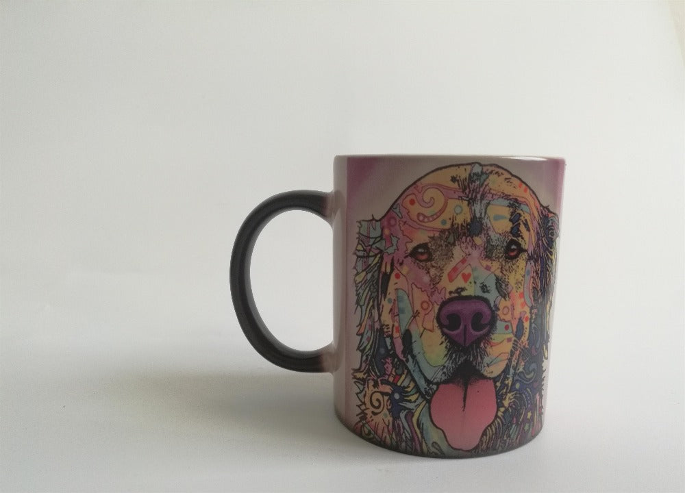dogs mugs dog cups coffee mugs heat Reveal kids cup transforming Tea Cups magic mug beer cup home decal heat changing color mug