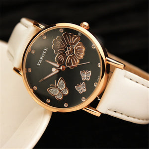 2016 New Fashion Women Wristwatches Butterfly Flower Bling Genuine Leather Quartz-Watch Wedding Wrist Watch Women montres femme
