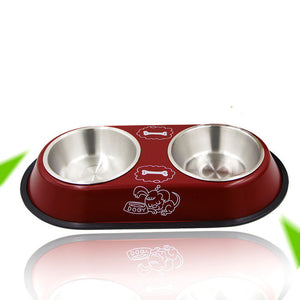 Pet Dog Bowl Food Water Dish Stainless Steel Pets Feeder Double Bowls Non Slip Feeding Tray Pet Supplies For Cat Puppy Dogs Bowl