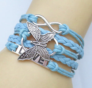 NEW Hot Fashion Leather vivid butterflies LOVE Friendship Charm Sideway Braided Wristband Bracelet