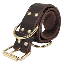 New Genuine Real Leather Canine Working Dog Pet Collar Brass Heavy Duty Center D-Ring For M L Dogs