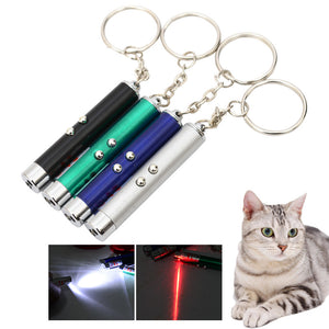 2 In 1 Red Laser Funny Cat Stick Laser Pointer Pen with White LED Light Children Play Pet Toy Supplies Creative small Animal Toy