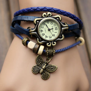 Fashion Leather watch Wrapped Bracelet Watches Students Butterfly Hanging Ornament  Wristwatches
