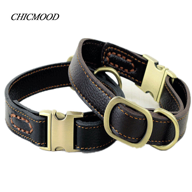 2017 New Genuine Leather Dog Collar with Zinc Alloy Buckle Top-quality Adjustable Pet Collars Small Large Dogs Supplies