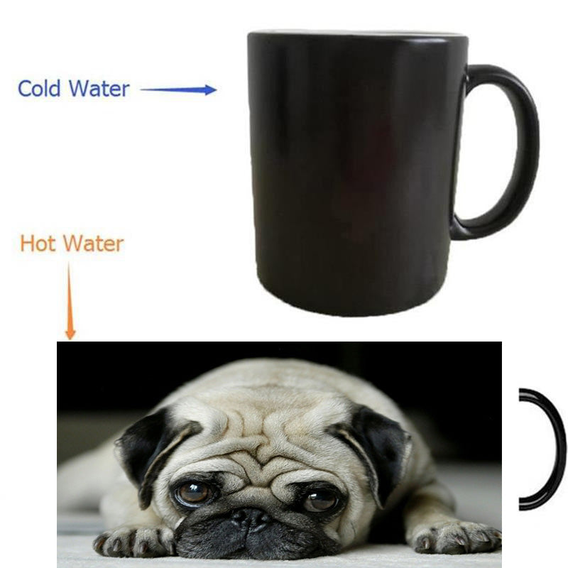 pug dog mugs heat transfer change color mugen Heat reveal mugs temperature color change  heating mugen
