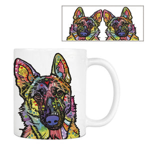 Fashion German Shepherd Husky Coffee Mugs Cute Dog White Ceramic Creative Tea Mug Customize Birthday Gifts For Kitchen Home