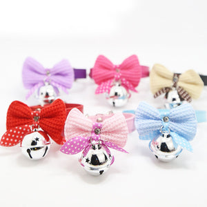 1pcs PU leather pet dog collar adjustable dot cat collar with bell cute bowknot tie Puppy Kitten Necktie Collar lead dog supply