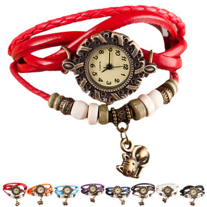 Relojes Mujer 2017 Ladies Woman Girl Quartz Watch Clock Weave Around Leather Cat Bracelet Lady Woman WristWatches Watch