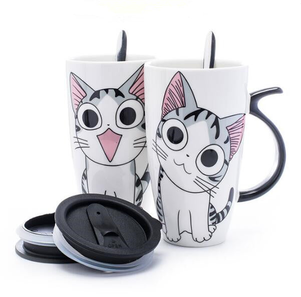 600ml Creative Cat Ceramic Mug With Lid and Spoon Cartoon Milk Coffee Tea Cup Porcelain Mugs Nice Gifts
