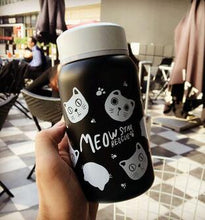 VILEAD Cute Cat Stainless Steel Thermos Flask Thermos Bottle Cartoon Scrawl Thermos Mug Vacuum Water Bottle Children Girl's Gift
