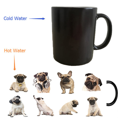 bulldog dogs cups puppy dogs mugs heat transfer change color Heat reveal mugs temperature color change travel heating