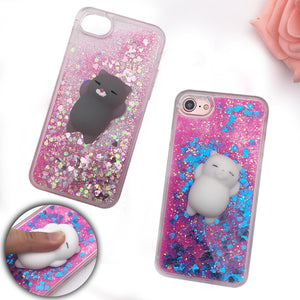 Squishy Phone Case for iPhone 5S Case 3D Cartoon Cat Bling Glitter Liquid Quicksand Clear Cover for iPhone X 10 6S 7 8 Plus Case