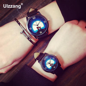 100% New Arrival Night Moon Sweet Cat Leather Quartz Watch Wristwatches for Women Ladies Girls Lovers Black Red Brown