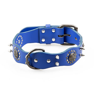 T-MENG Pet Dog Collar Genuine Leather Retro Style Sharp Spiked Studded For Medium Large Breeds Pitbull Pet Products Acessorios