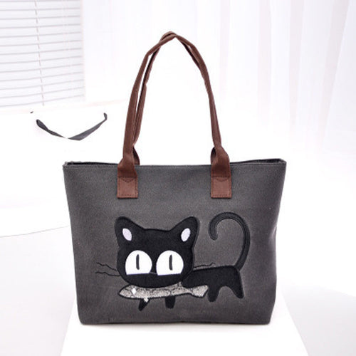 2016 Fashion Women Small Canvas Bag Cute Cat Bag Office Lunch Bag Women Shoulder Handbag Ladies Bags mochila feminina