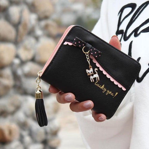 Xiniu women's wallet with zipper Lady purse in the shape of anime wallets Cat Leather Magic Wallet Women carteira feminino #YHEL