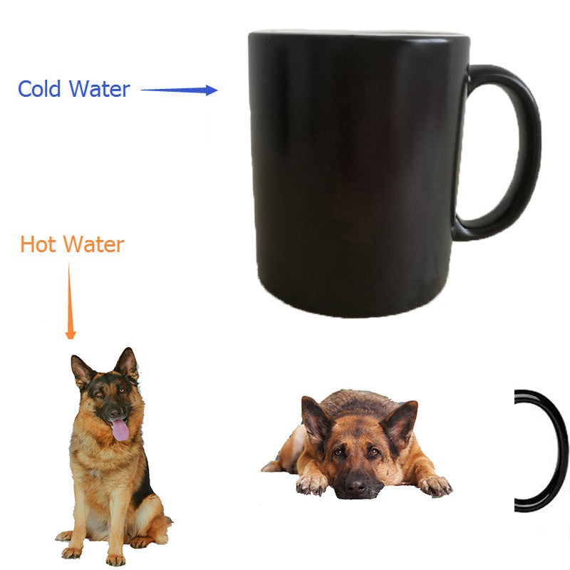 puppy dog German Shepherd Dog mug mugs Tea cups Milk mugs cold hot Heat Changing Color Heat Sensitive morphing cups Magic Mug