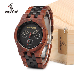 BOBO BIRD EN18 Handmade Analog Men Wooden Quartz Watch Round Dial Unique Combination Ebony And Red Sandalwood Customzied