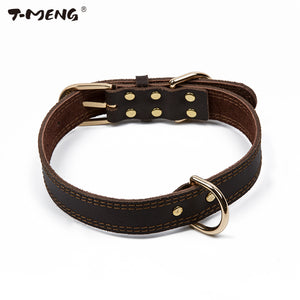 T-MENG Classic Style Dog Collar Genuine Cow Leather Collars For Small Large Dogs Necklace Pet Products For Animals Supplier
