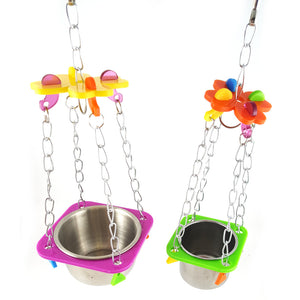 Swing Hanging Feed Bowel Feeding Water Colorful Toy Cage Parrot Pet Bird Supplies Accessories