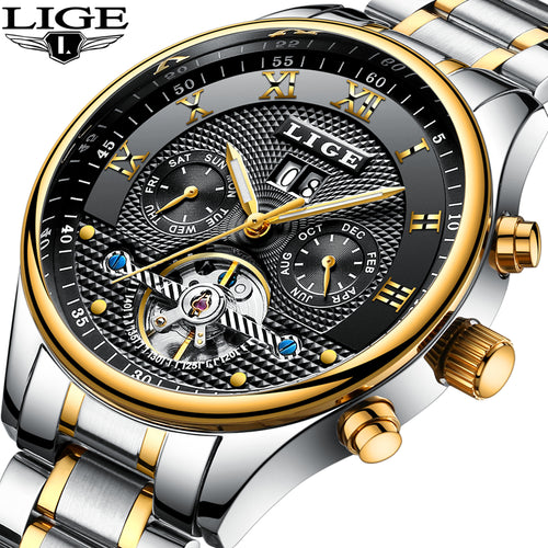 LIGE Watch Men Business Waterproof Clock Mens Watches Brand Luxury Fashion Casual Sport Mechanical Wristwatch Relogio Masculino
