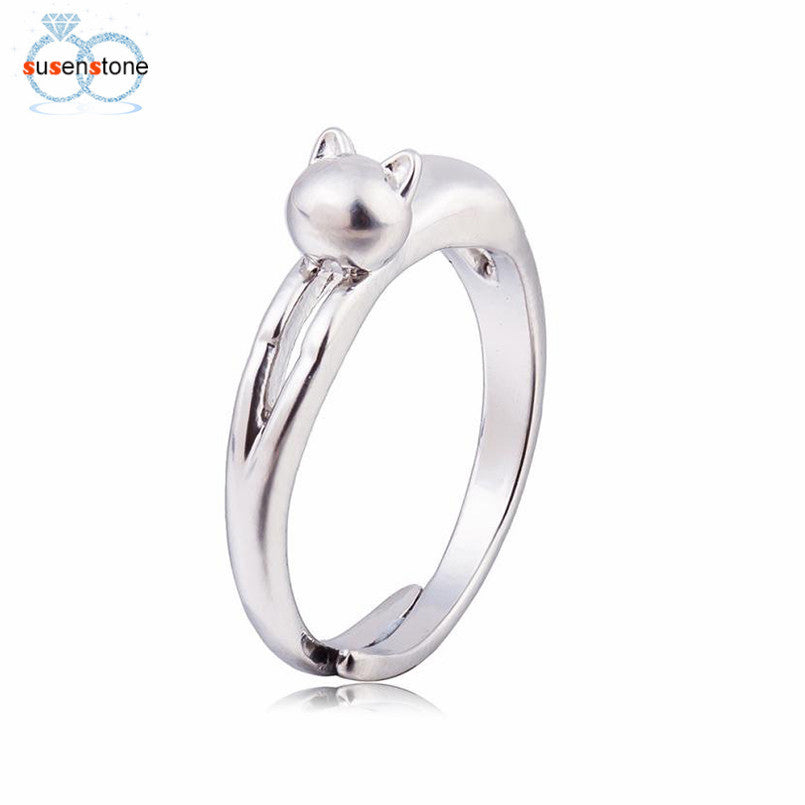 SUSENSTONE Silver Plated Sweet Cute Cat Kitten Open Ring Cat Kitten Jewelry Ring Original
