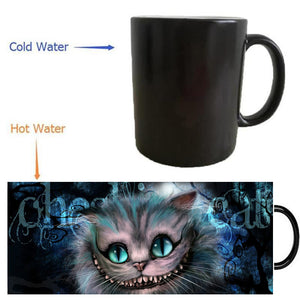 The Cheshire Cat Alice in the wonderland mugs heat changing color Heat reveal mugs magic wine art Magic coffee mug friend gifts
