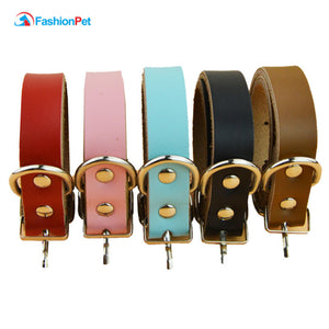 Retail  Pet Collars Luxury Genuine Leather Plain Pet Dog Puppy Collar for Small and Medium Dogs