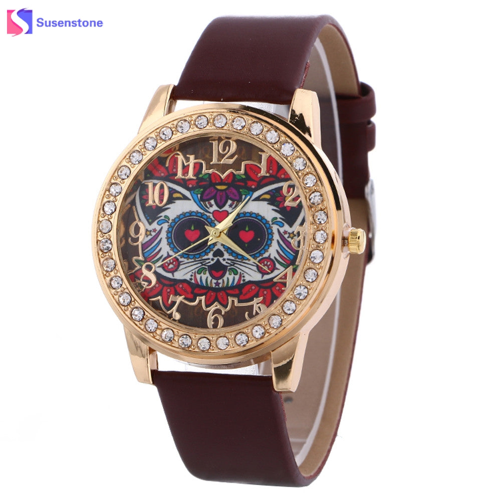 Hot Sale Cat Pattern Men Women Watch Fashion Diamond Leather Watch Ladies Analog Quartz Wristwatch Hour Clock New montre femme