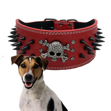 Wide Cool Sharp Skull Rivets Anti Bite Leather Dog Collar 1PC Black Skeleton Medium Size Genuine Leather Pet Dog Collors