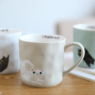 Cartoon Mug Cups Cute 380ml Ceramic Cat Coffee Thermos Cup Tea Beer Cup With Handgrip Creative Christmas Gift