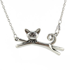 "Trusta 2017 New Hot Men/Women Jewelry Vintage Silver Cute Cat Pendant Long Necklace 18"" For Wholesale Free Shipping DIY18"