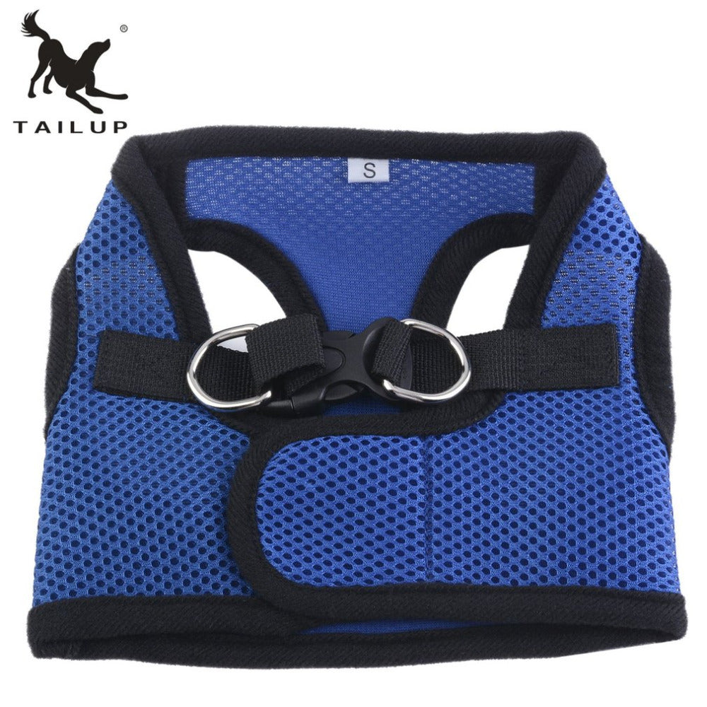 TAILUP Anti Pressure Waterproof Pet Supplies Blue Black Edge Chest Back Strap Light-Weight Mesh Cloth Canvas Pet Belt