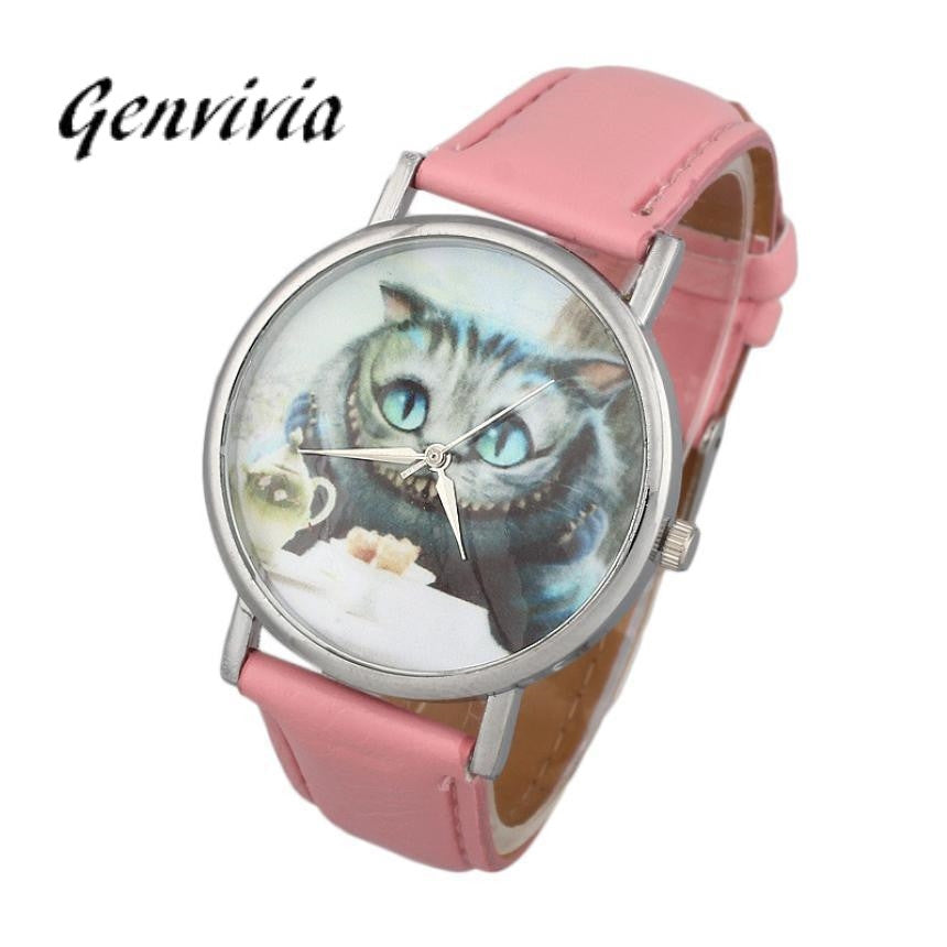 Smilelee  4colors wrist watches cats with blue eyes clock women quartz watch for women ladies dress watch montre pour homme