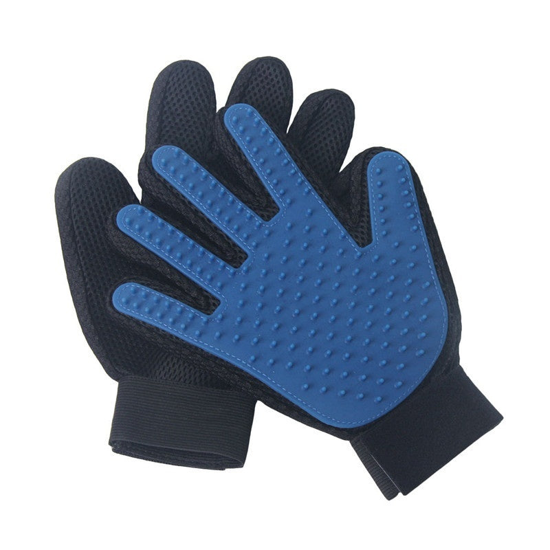 New Product Silicone Massage True Touch Glove Deshedding Pet Grooming Dogs Cats Bath Pet Supplies Blue