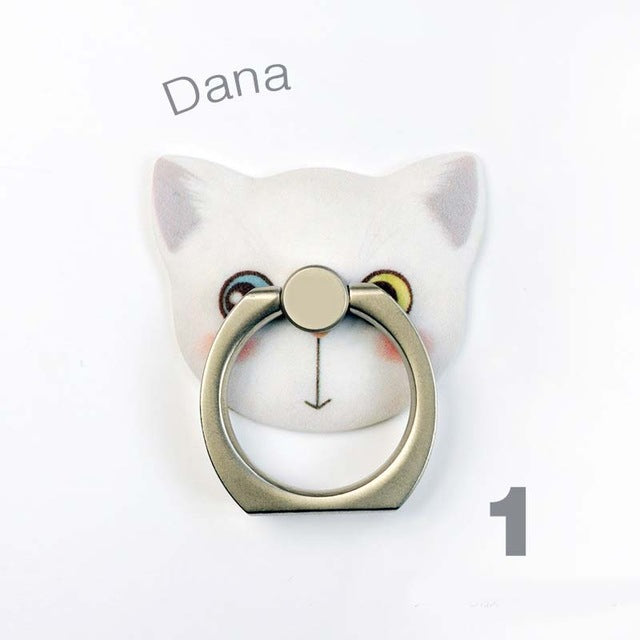 Cute Cat Stand Creative Lazy Finger Ring Mobile Cell Phone Smartphone Telephone Hand Stand Holder Desk Car Universal Metal