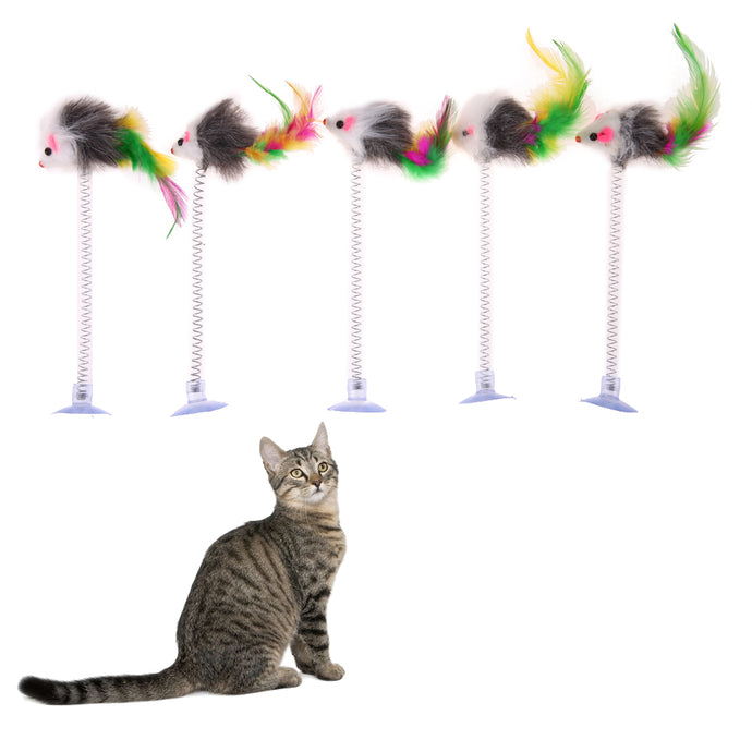 5pcs Cat Kitten Playing Scratch Toy Cute Funny Elastic Feather False Mouse Bottom Sucker Toy for Cats Pet Supplies