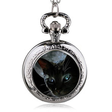 Middle Size Lovly Cat Quartz Pocket Watch Analog Pendant Necklace Mens Womens Pocket&Fob Watch Gift