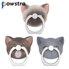 Powstro 2 in 1 Cat Finger Ring 360 Rotatable Smartphone Pad Stand Holder with Cute Animal Design