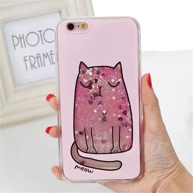 Shuohu Quicksand Dynamic Liquid Phone Cases for Iphone 6 6S Plus Case Cat Cartoon Silicone Cover for Iphone 7 Plus Case Flower