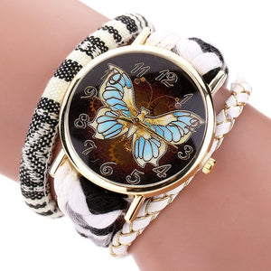 2017 Duoya Retro Leather Women Watch Fashion Weave Trendy Butterfly Dial Gold Luxury Bracelet Watch Ladies Wrist Watch Gift