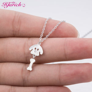 Hfarich Cute Dog necklace dog silver pendant necklace Animal series jewelry for pet lovers Gift SYXL086