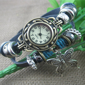 Cindiry Fashion Unique Women Casual Quartz Wrist Watches Ethnic Style Butterfly Silver Retro Bracelet Band Women Watches P20