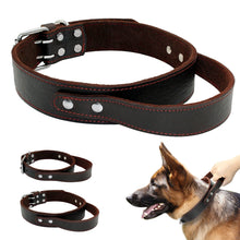 Quick Control Dog Collar Genuine Leather Big Dogs Collar For Pet Training Brown With Handle For Medium Large Dogs M L