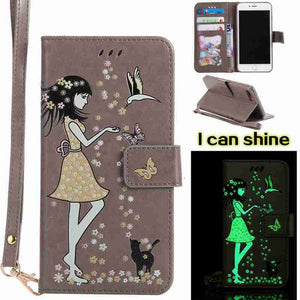 UXIA Cover Case Women Cat Luminous Painted PU Leather Phone Case with Card Holder for iphone 6 6S Case Freeshipping