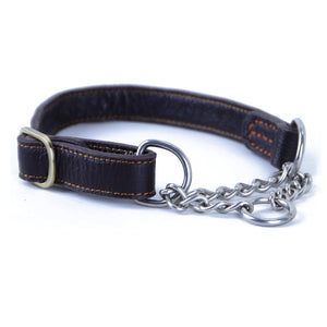 Elegant Genuine Leather Dog Training Collar Stainless Steel Chain Choke Collar for Big Large Dogs Pet Supplies Dog Accessories