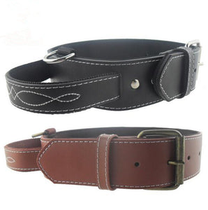 Genuine Leather Dog Neck Collars Adjustable with Handle Durable Pet Walking Training Strong Buckle Strappy