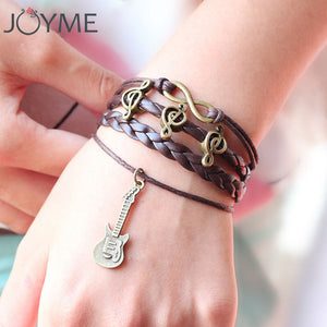 Music Notation Bracelet For Men Women Rock Punk Vintage Adjustable Layered Strand Charm Music Note Bracelets With Leather