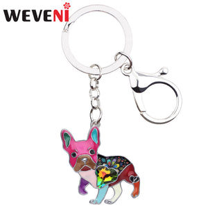 WEVENI Enamel Alloy Rhinestone French Bulldog Pug Dog Key Chains Keychain Animal Jewelry For Women Girls Bag Car Charms Gift Pet